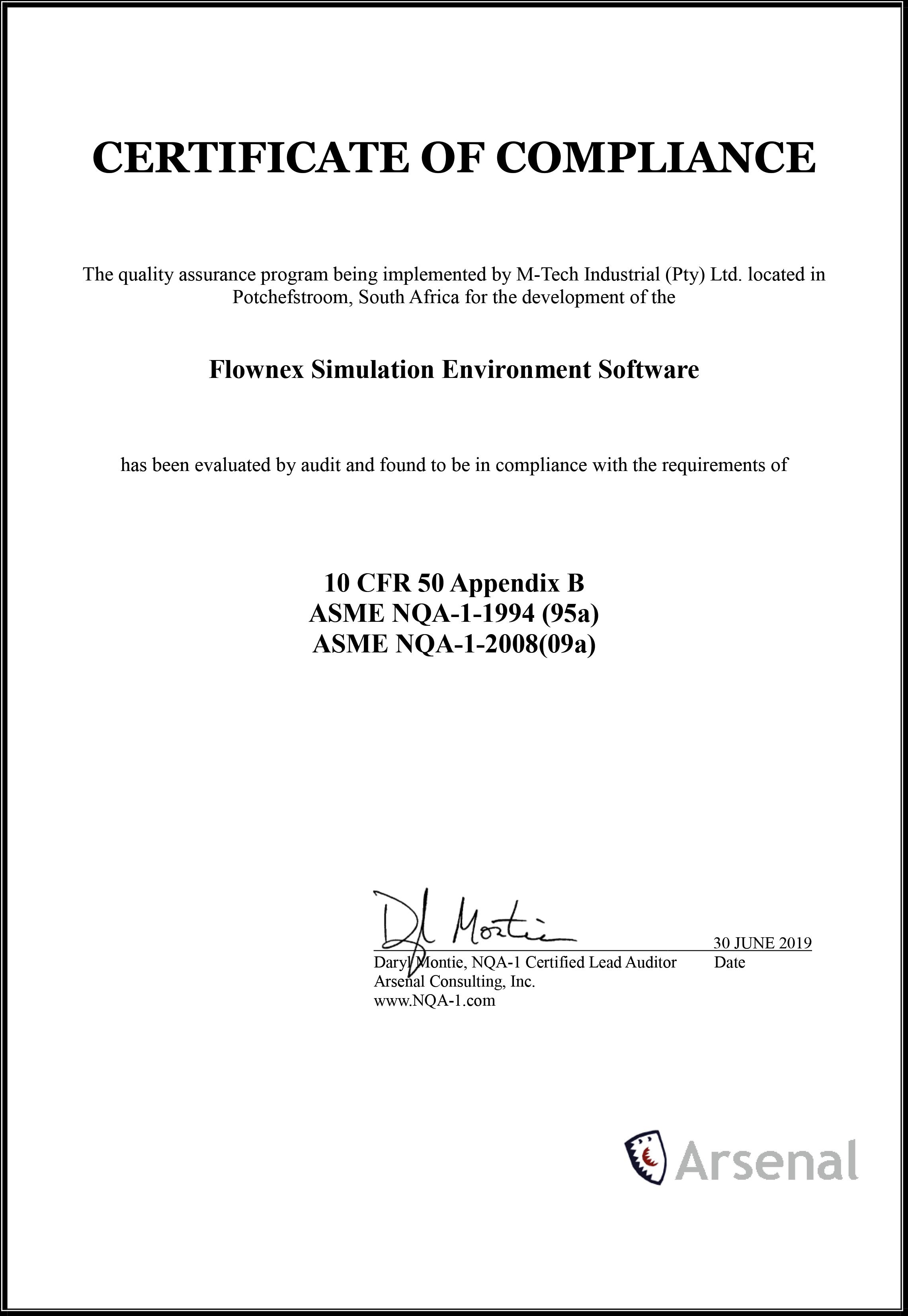 Flownex®SE: zertifiziert gemäß Qualitätsstandards ASME NQA-1 und ISO 9001