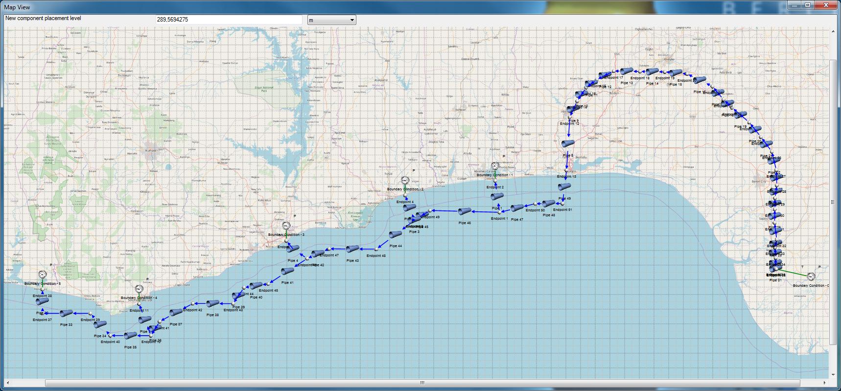 Flownex-Modell einer Pipeline auf Basis von geographischen Daten