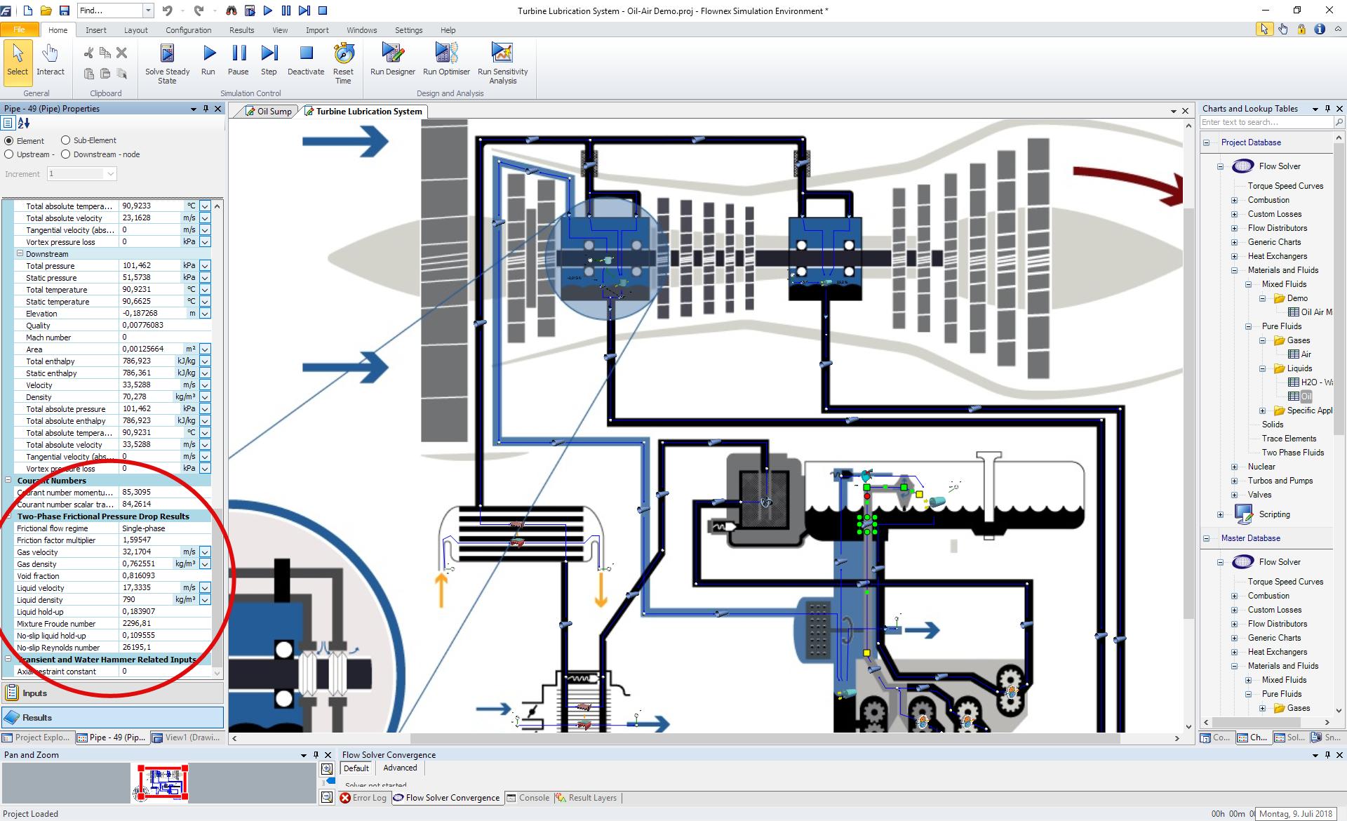 Flownex®-Modell zur Simulation von Gas-Öl-Gemischen für Druckschmiersysteme in Gasturbinen