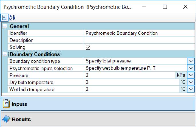 Eingabemaske für psychrometrische Randbedingungen